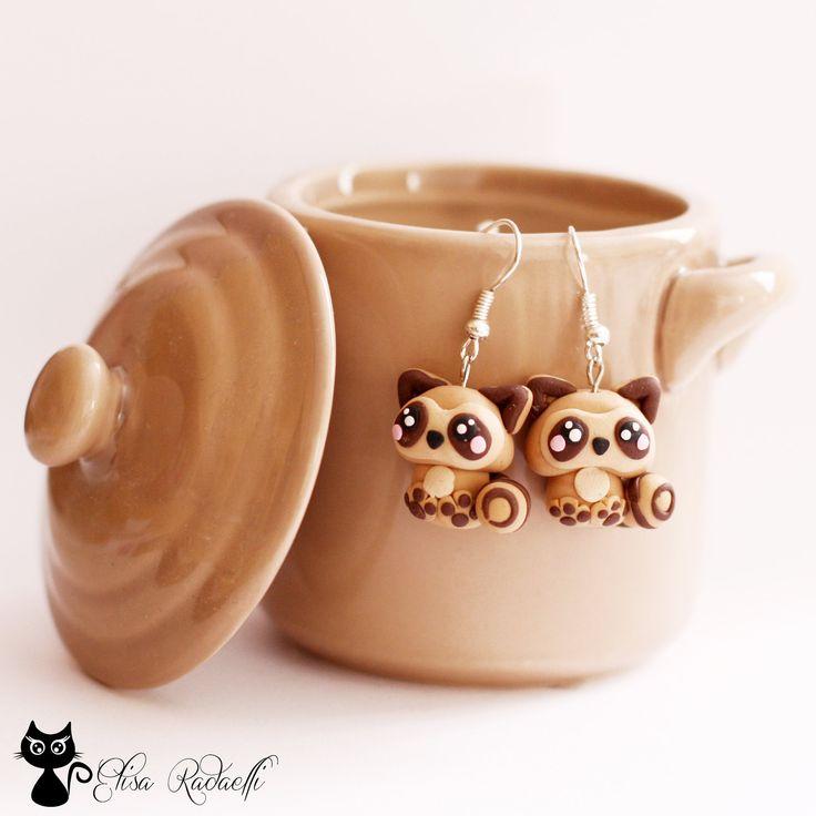 raccoon earrings - polymer clay. €8,00, via Etsy.