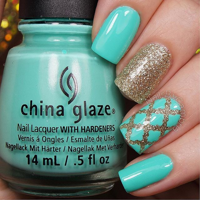 Turquoise nails with Moroccan quatrefoil pattern - The 25+ Best Nails Turquoise Ideas On Pinterest Teal Nail