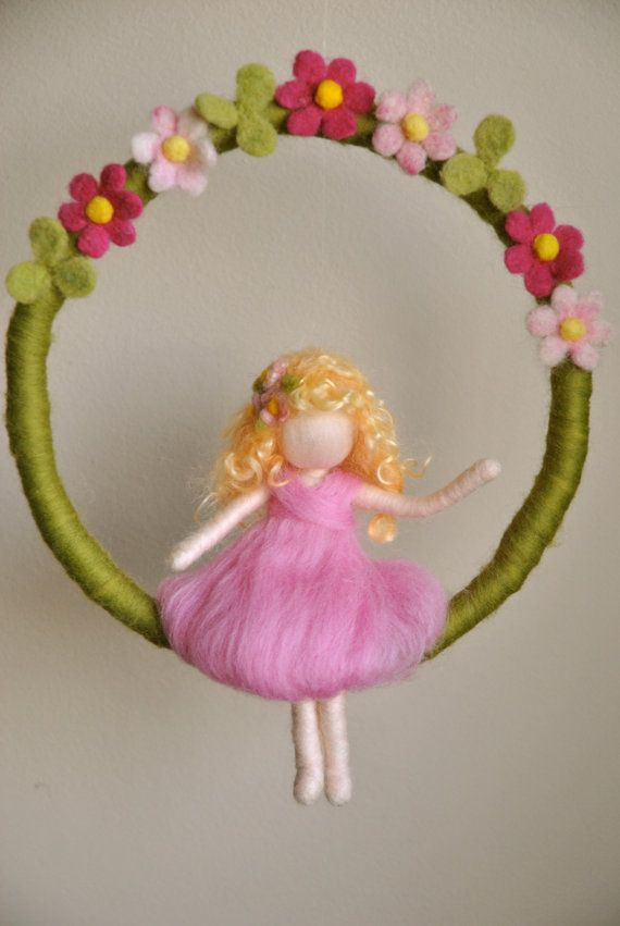 Waldorf inspired needle felted mobile: The pink flowers fairy