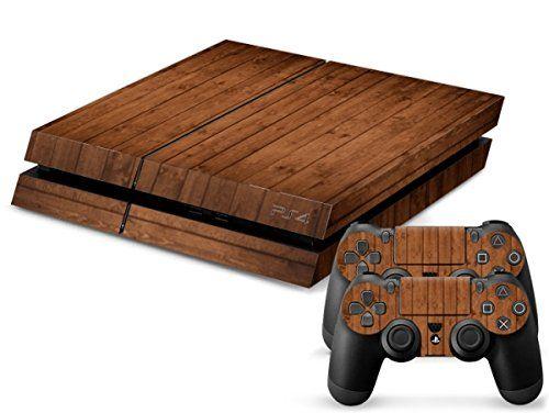 Skins4u® Playstation 4 PS4 Skin Design Folie Sticker Set + 2 PS4 Controller Skins - Red Wood