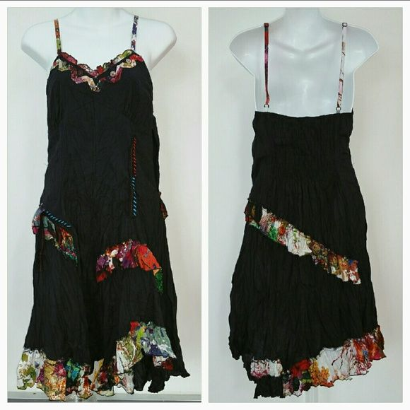 """Playful Urban Dress NWT *Last one* Brand new with tags   Urban Chic black crinkled dress with floral ruffles plus thread and button details.   Adjustable straps Length approx 42"""",but will vary depending on where you adjust the straps. Material 100%cotton  *Similar to desigual and anthro styles Dresses"""