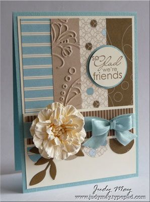 Stampin' Up supplies : Best Yet       Soft Suede; Accessories: Baja Breeze Seam Binding Ribbon (NAH), 1mm Pearls      Tools  Elegant Lines Embossing Folder, Little Leaves Die, Big Shot, Circle Punches, Fancy Flower Punch, 5-Petal Flower Punch, Small 5-Petal Flower Punch (not SU), Scallop Trim Corner Punch, Itty Bitt...