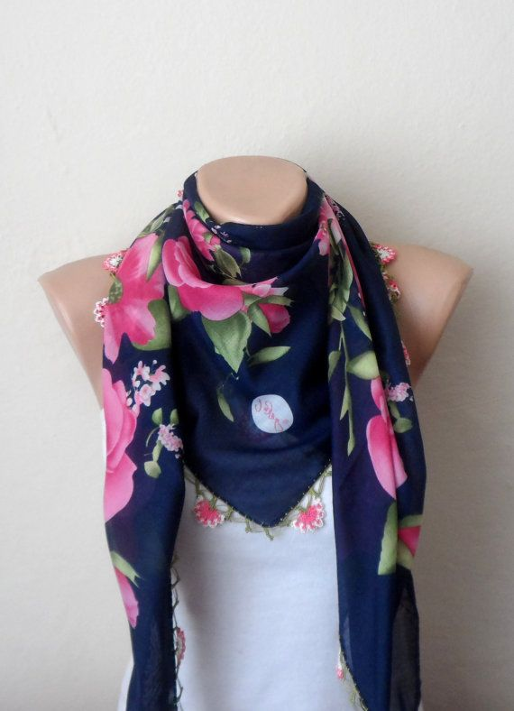 blue scarf pink scarf floral print scarf womans by DamlaScarf