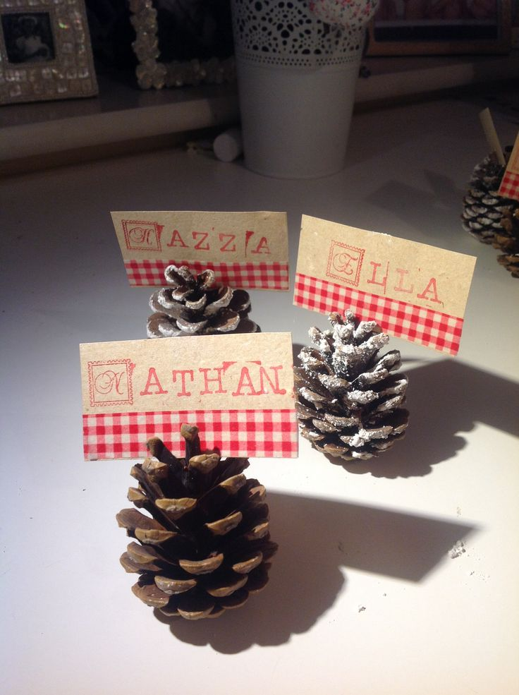 Christmas pine cone place settings