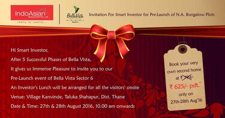 Invitation For #SmartInvestor for pre-launch of N.A. #Bungalow #Plots. For More info Visit :http://www.indoasian.co