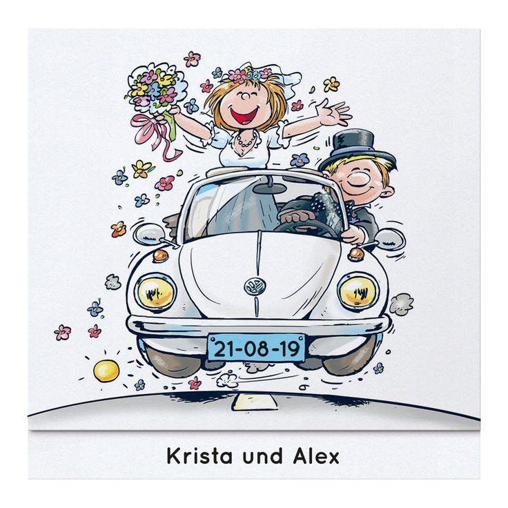 """Humorvolle Comic Hochzeitskarte mit fröhlichem Brautpaar im VW-Käfer Cabriolett. Die Mittellinie und der Pfeil symbolisieren """"Auf dem Weg zum Glück"""".  Bedruckt mit einem witzigen Text lässt diese Einladungskarte Ihre Gäste sicher..."""