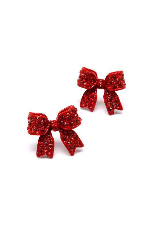 Poppy Bow Earrings // red. cute. preppy. #wearabledesign