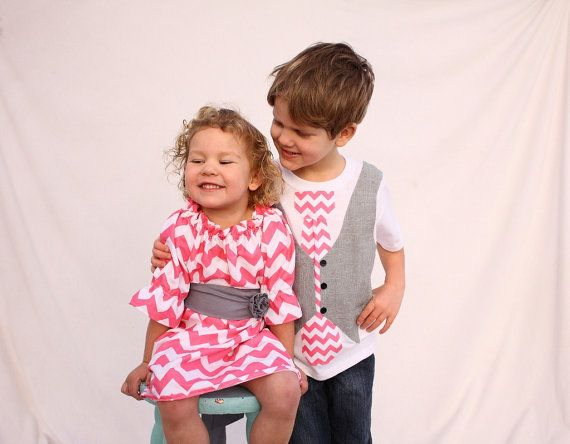 Sibling valentines day chevron outfits, Chevron easter outfits, sibling outfits, Easter outfits for sister brother on Etsy, $78.00