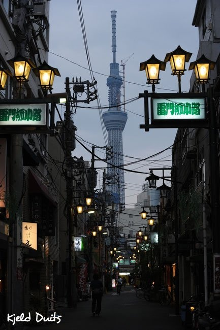 Tokyo Sky Tree, Tokyo's new symbol and image of hope, as seen from a backstreet in Asakusa