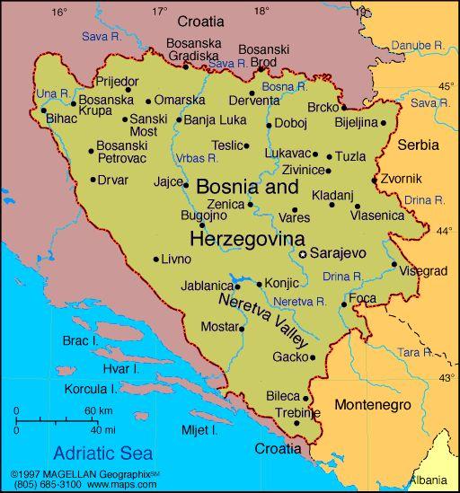 Map of Bosnia and Herzegovina. Capital: Sarajevo. (2000) This gives you