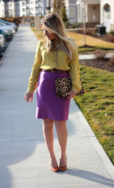 fuschia purple pink skirt with yellow top and leopard tan accessories my favourites pinterest. Black Bedroom Furniture Sets. Home Design Ideas