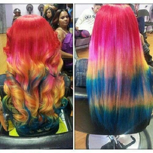 Colorful Weave Hairstyles Long Hair Curls Pretty