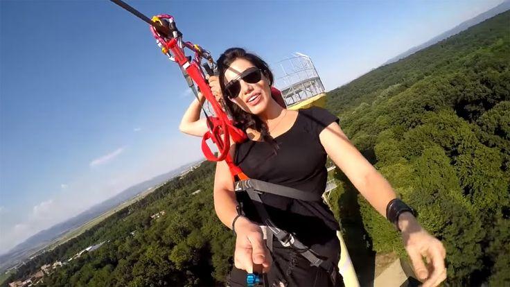 Tiroliana de la Aventura Park Arsenal: 607 m lungime, inaltime de plecar...