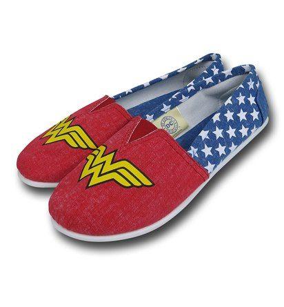 Wonder Woman All-Over Print Women's Slip-On Shoes | via superherostuff.com