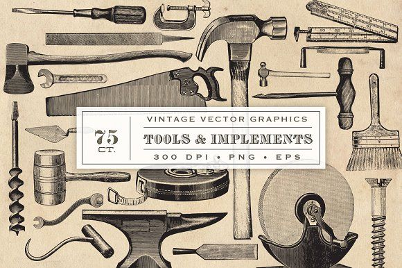 Vintage Tool & Implement Graphics by Eclectic Anthology on @creativemarket