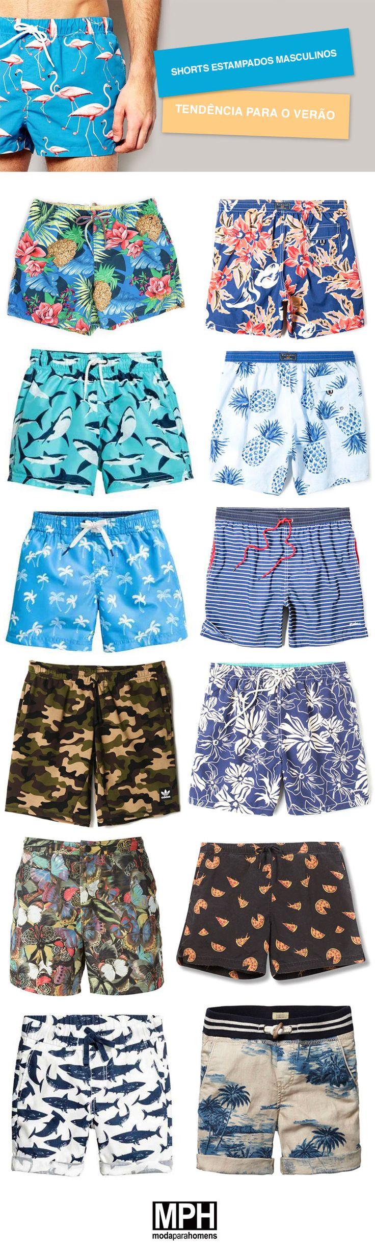 Shorts estampados masculinos, serão tendência nesse verão!