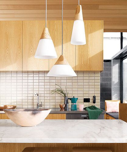 Summer 2014 Odense Pendants in Small Coolie\Ash Wood, Large Coolie\Ash Wood, Large Cone\ Ash Wood | by Beacon Lighting