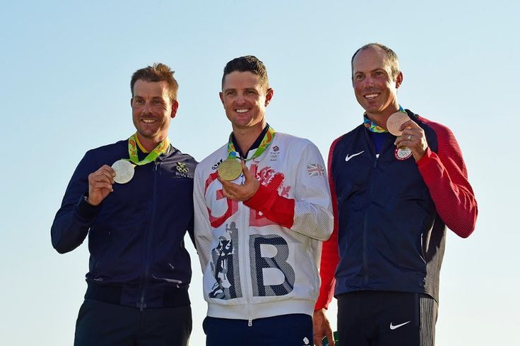Henrik Stenson of Sweden holds the Silver medal Justin Rose of Great Britain holds the gold medal and Matt Kuchar of the United States holds the Bronze medal after the final round of the the Rio 2016 Olympic Games at the Olympic Golf Course on August 14 2016 in Rio de Janeiro Brazil. (Photo by Chris Condon/PGA TOUR/IGF) http://ift.tt/2aVIFYL