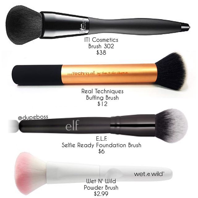 BRUSH ALTERNATIVES Who wants to spend over $30 on a brush? NOT US. That's why we found alternatives to @itcosmetics VELVET LUXE FOUNDATION BRUSH no. 302 ($38)! @realtechniques has a VERY similar fluff round brush their BUFFING BRUSH ($12) , the @elfcosmetics SELFIE READY FOUNDATION BRUSH ($6) , & @wetnwildbeauty POWDER BRUSH ($2.99). These alternatives will SAVE YOU #dupeboss #itcosmetics #realtechniques #elfcosmetics #wetnwild