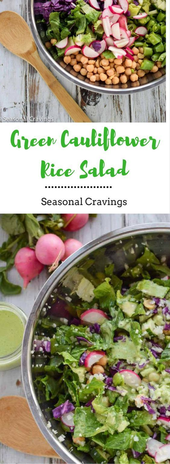 This Green Cauliflower Rice Salad is light, healthy and full of summer vegetables. Cauliflower rice if full of nutrients, fiber and low in carbs. Delicious and refreshing! #recipe