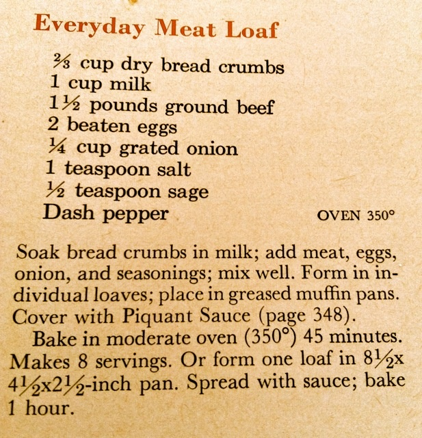 Vintage Recipe Everyday Meat Loaf From Better Homes And
