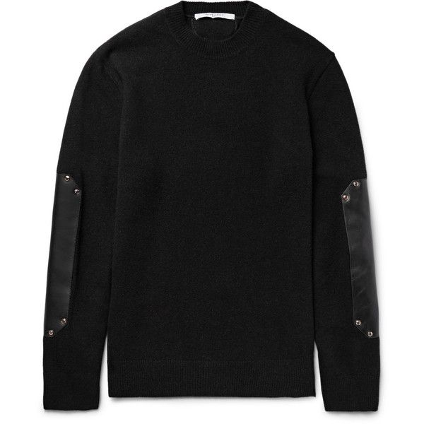 Givenchy Leather Elbow-Patch Wool Sweater ($1,695) ❤ liked on Polyvore featuring men's fashion, men's clothing, men's sweaters, mens wool sweaters, mens oversized sweaters and mens woolen sweaters