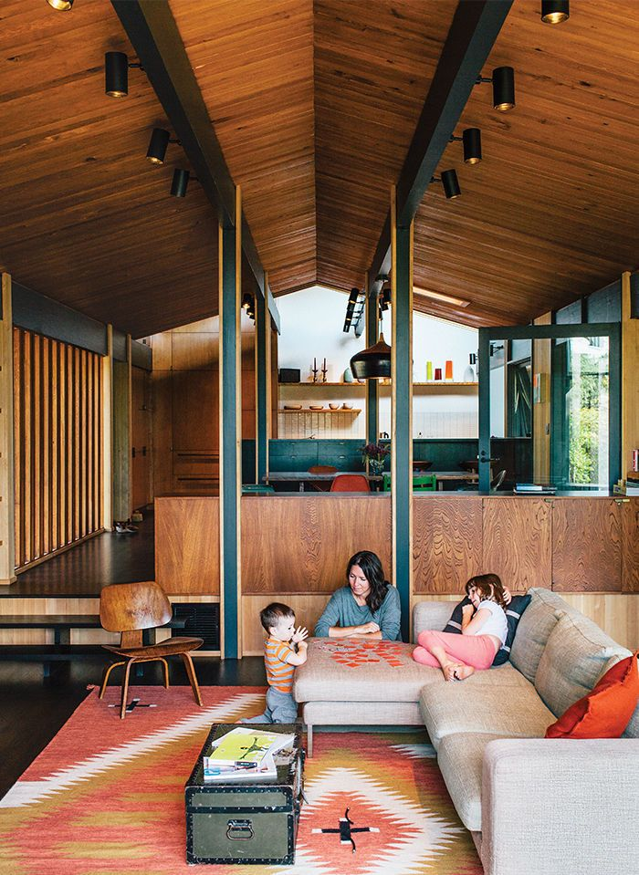 Midcentury Portland home with wood floors, ceiling, and walls. Totally in love with everything about this.