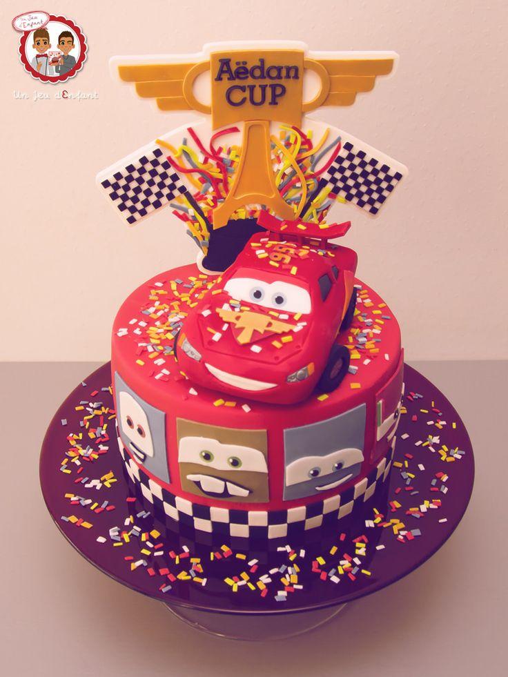 Cars Cake Pixar - Gâteau thème Cars 2 pour un bâpteme - Un Jeu d'Enfant Cake Design Nantes France