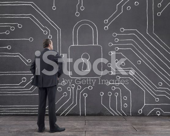 Businessman with Cyber Security Diagram on the Wall (royalty-free stock photo) © mgkaya