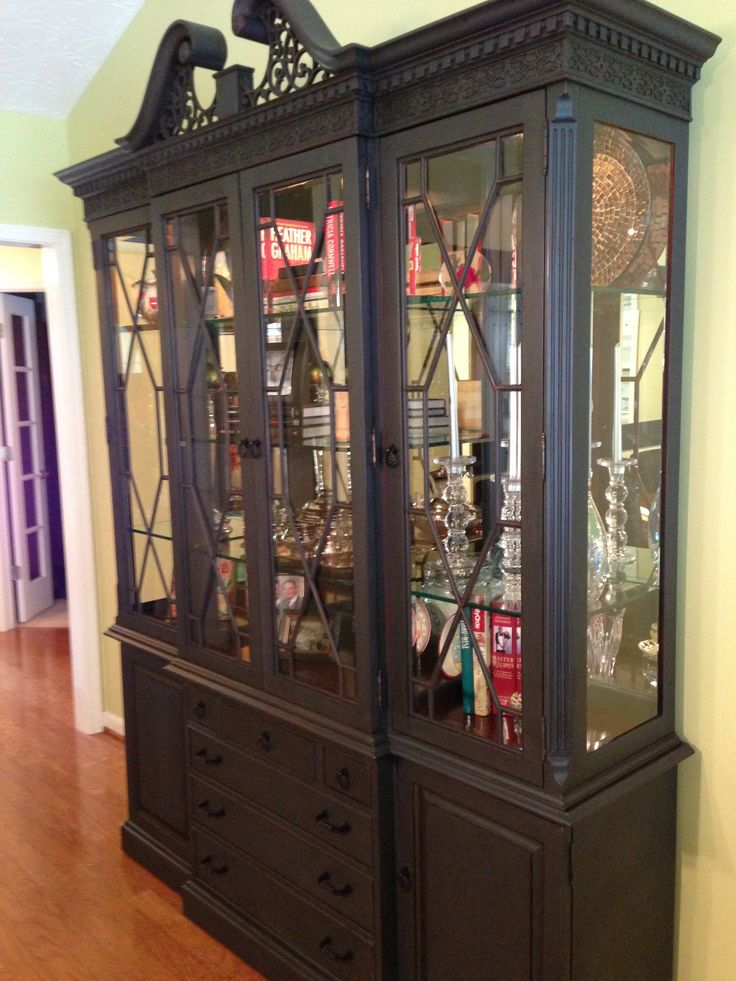 After Mahogany China Cabinet With Annie Sloan Graphite And