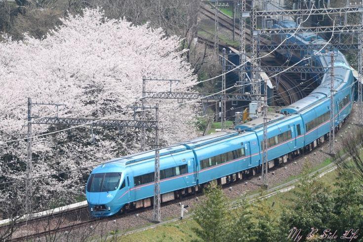 桜と小田急60000形MSE 春の秦野築堤・俯瞰