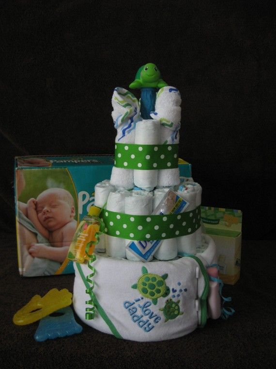seaturtle cake for baby shower | Sea Turtle Diaper Cake Neutral by ShowerCakezandGiftz on Etsy
