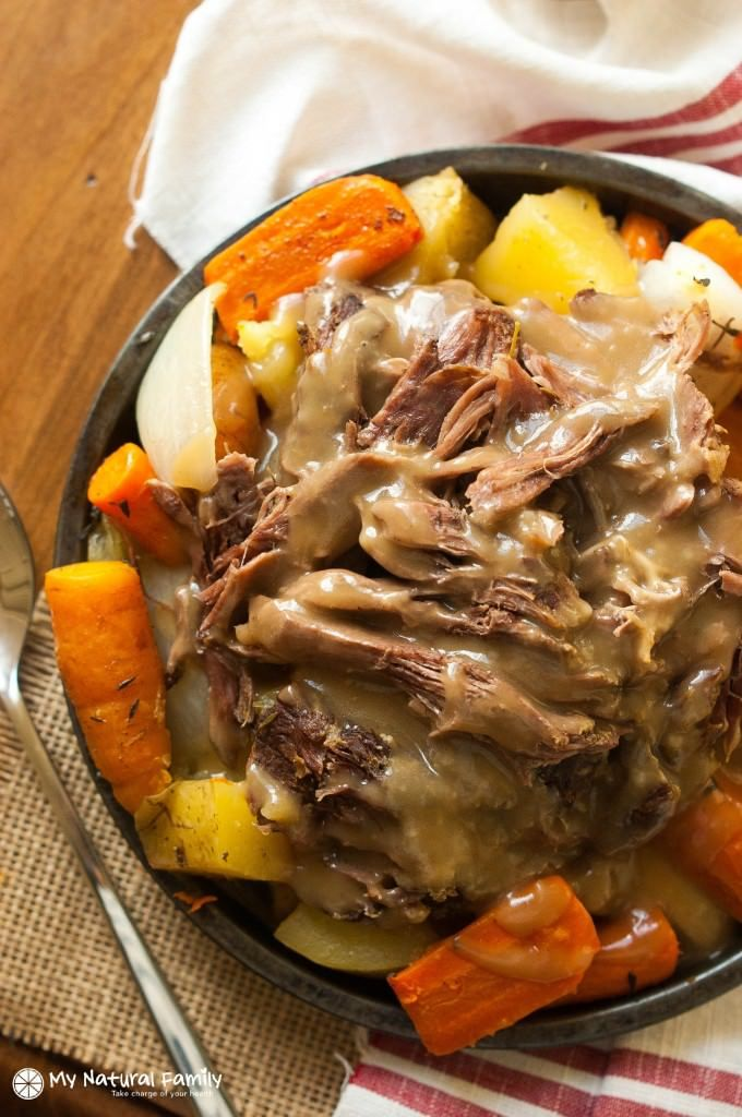 Roast Crock Pot Recipe This is a simple crock pot meal, it is simply a chuck roast with potatoes and carrots with a sauce over it.