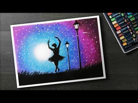 How To Draw Moonlight Girl Dance Scenery With Oil Pastel Step By