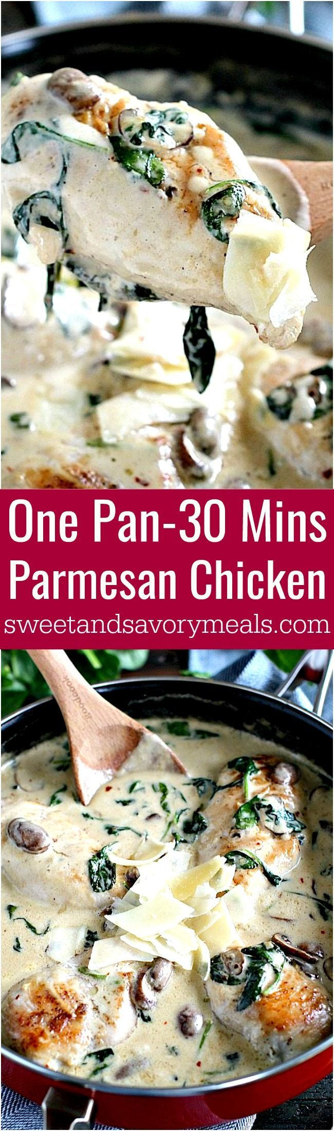Creamy Parmesan Mushroom Chicken is made easy in One Pan and is ready in 30 minutes. Made with cheese, wine and garlic, it packs lots of flavor. #chicken #onepan #30minute #creamy #dinner
