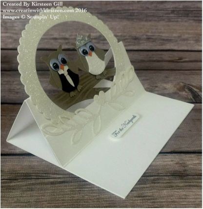 handmade wedding card ... super special easel card format with and embossed circle frame ... owl punch dressed up for a wedding ... fun and delightful ... Stampin' Up!