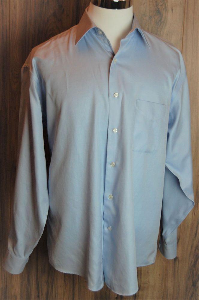 Pronto Uomo Non Iron Dress Shirt Size 16.5 34/35 80s 2-Ply Blue Button Shirt #ProntoUomo #2Ply