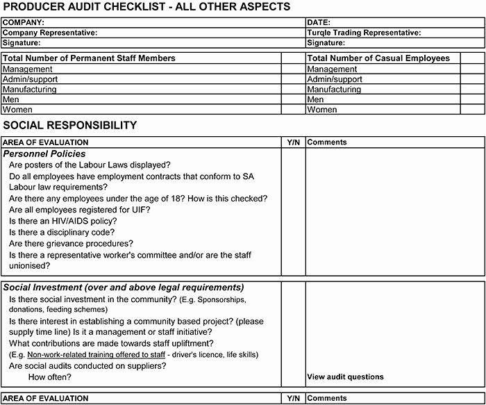 Vendor Audit Checklist Template Lovely Supplier Audit Checklist