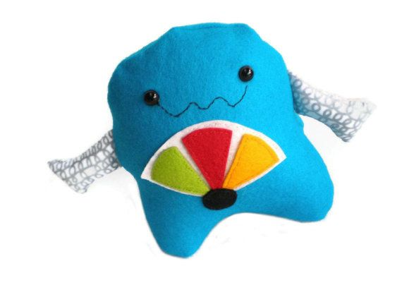 Blue Colorful Robot Plushie Softie Felt Toy by MissTreeCreations, $29.00