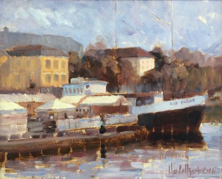 "Heidi Hjort ""Faros"" SOLD Finland, oil painting 2016, home decor, boat painting, cityscape, Finland, Vaasa, Vasa, Suomi, home decor, livingroom decor, seascape painting, landscape painting"