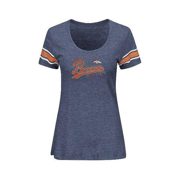 Denver Broncos Women's Short Sleeve Heather Tri-blend Scoop Neck... (24 CAD) ❤ liked on Polyvore featuring tops, t-shirts, denver broncos, t shirt, blue short sleeve shirt, tee-shirt, print t shirts and scoop neck tee