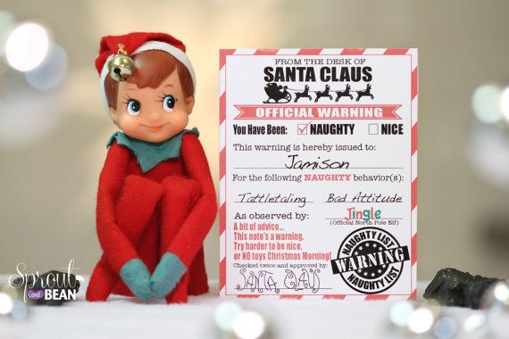 A warning letter from Santa.   18 Printables To Seriously Up Your Elf On The Shelf Game
