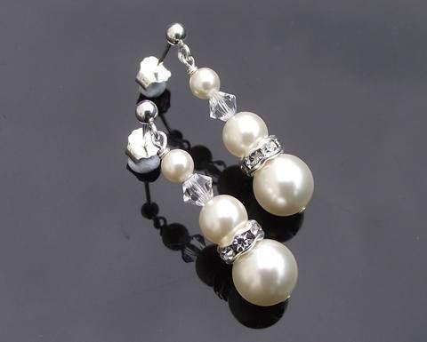 Wedding Earrings - Bridesmaids Drop Crystal And Pearl Earrings, Meredith-Mini