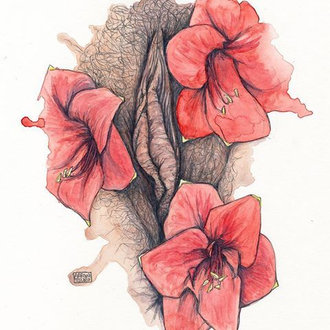 amaryllis - painted illustration of an adaptation from my pressed flora photo series from a few years ago. The series was and is our appreciation of the labia and all the wonderful shapes, sizes, and colors it comes in. - I'll link to the series on tsurufoto.com - - #art #illustration #drawing #vulva #flora #flower #pencil #sketch #painting #watercolor #watercolorpainting