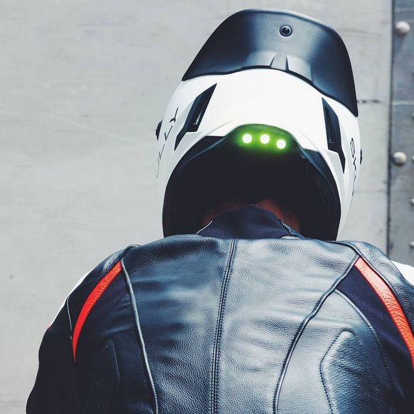 Pic of rear of Skully Helmet with camera and lights