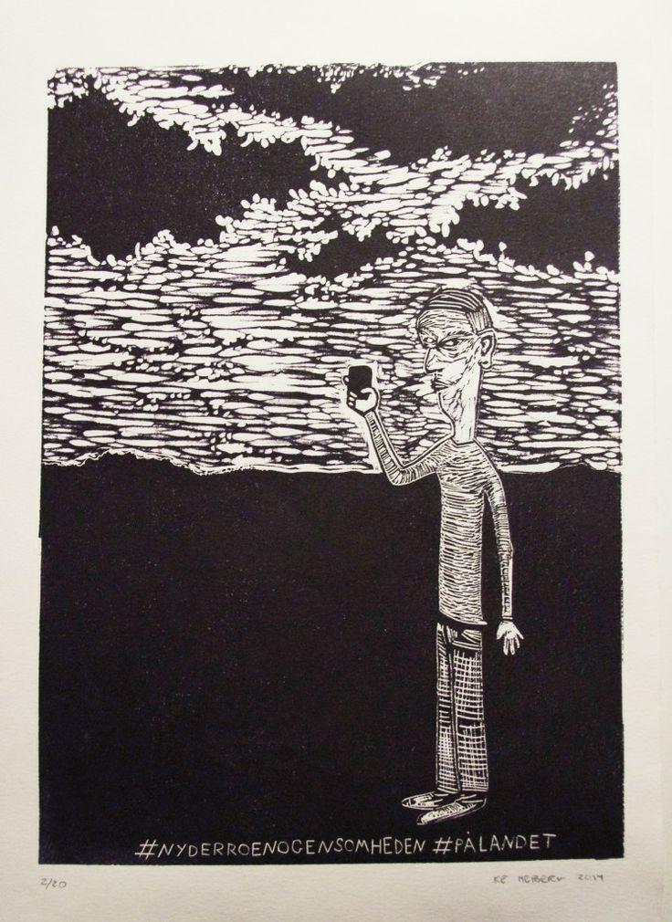 "linocut 25 x 35 cm ""#enjoyingthecalmandsolitude ""onthecountryside"""