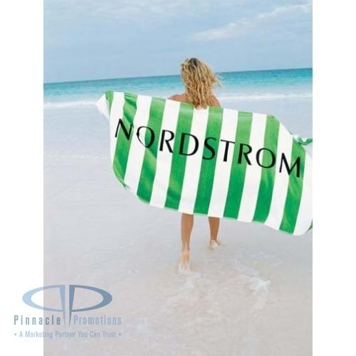 Horizontal Cabana Stripe Beach Towel with logo #americanclassic