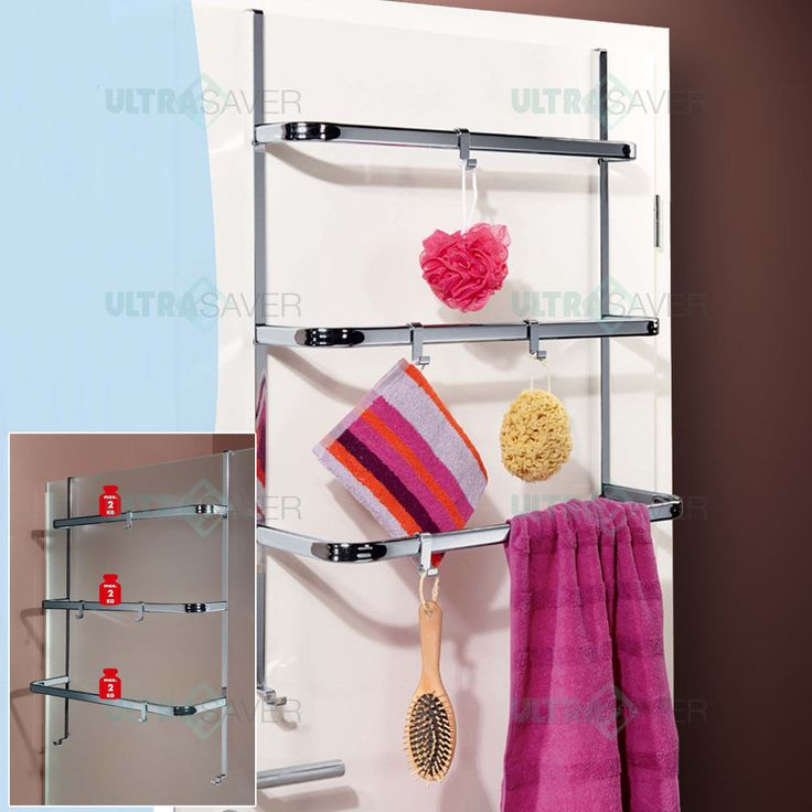 Get more room for your towels now with this Over Door Towel Rail. You can hang it just behind your bathroom door or even attach it to the shower screens. It Comes with 3 bars and 4 hooks for towels and accessories and is design to fit all standard doors and shower screens - does not interfere with closing. | eBay!