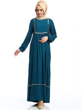 Nakışlı Piliseli Elbise - Petrol - CML