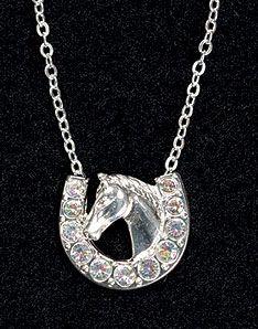Lucky Horse Head Rhinestone Necklace | ChickSaddlery.com